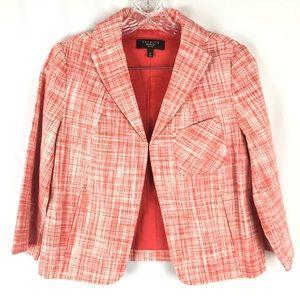 Talbots 4P Red White Print Jacket